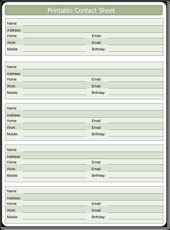 Printable Contact Sheet