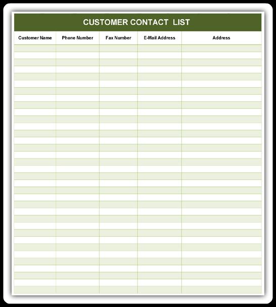 Customer Contact List